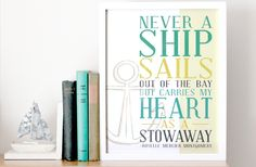 11x14 Nautical Print - Ship Typography Quote - Anchor Illustration - Never a Ship Sails out of the Bay - Roselle Mercier Montgomery. $35.00, via Etsy.