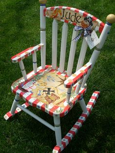 Personalized Handpainted Rocking Chairs | Rocking Chairs for Kids | Children's Wooden Rockers | Kid's Wood Rocking Chairs | The Bedford Rocker| Custom Hand Painted Childrens Furniture by Jane Marie