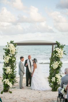 Beyond gorgeous beach Chuppah! http://www.stylemepretty.com/2015/02/04/elegant-riviera-maya-destination-wedding/ | Photography: Samuel Lippke - http://samuellippke.com/