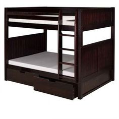 Camaflexi Full over Full Bunk Bed with Drawers - Panel Headboard - Natural Finish - C1621_DR