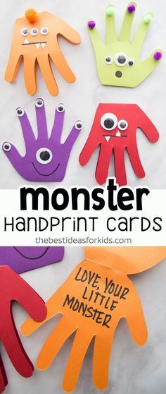 Monster Handprint Cards--perfect for Father's Day! These monster handprint cards are perfect to make for Father's Day, birthday cards or even as a Halloween craft. Kids of all ages can make these cute Monster Handprints! Kids Crafts, Daycare Crafts, Baby Crafts, Summer Crafts, Toddler Crafts, Preschool Crafts, Craft Kids, Kids Fun, Kids Boys