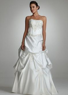 David's Bridal Wedding Dress: Strapless Beaded Corset Gown with Pick Up Skirt $549.99