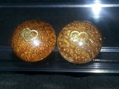 Hand turned wood stud earrings (small), Surgical steel post, gold heart, resin finish - pinned by pin4etsy.com