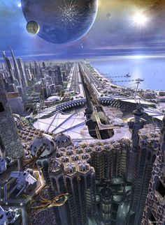 Futuristic city on the coast with nearby planet in the sky.