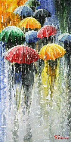 Romantic Umbrellas Painting  - Romantic Umbrellas Fine Art Print : Spring inspiration!