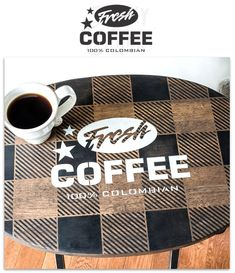 Learn how a plain pine TV tray was revamped into a Fresh Coffee Buffalo Checked beauty! With Funky Junk's Old Sign Stencils and Fusion Mineral Paint. Coffee Stencils, Sign Stencils, Stencil Diy, Stenciling, Blended Coffee, Fresh Coffee, Paper Flower Art, Coffee Sacks, Antique Signs