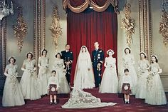 Queen Elizabeth and Prince Philip wedding party