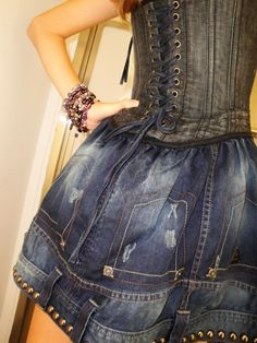 jean skirt + corset.... now the bottom of this skirt IS interesting