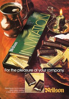 Neilson Invitation, for the pleasure of your company. #chocolate #Canadian #Christmas #retro #food #vintage #ad #1970s