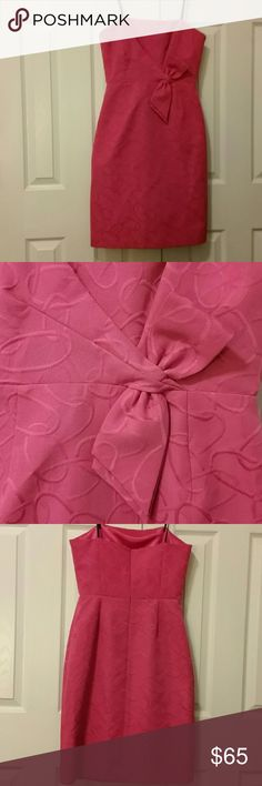 Pink brocade David Meister strapless dress Gorgeous bright pink colored strapless dress. Back zip. Present wrapped style detail. Size 6 David Meister Dresses Strapless