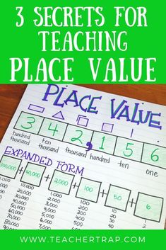 Learn 3 secrets for teaching place value so that students have a deeper understanding of these tricky concepts. These simple place value activities and games help students represent, order, and compare numbers and build a strong number sense foundation. Place Value Games, Place Value Activities, Teaching Place Values, Teaching Math, Math Lesson Plans, Math Lessons, Framed Words, Math Groups, Fourth Grade Math