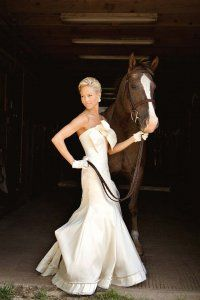 This will totally B my daughter on her wedding with her horse.. Beautiful!