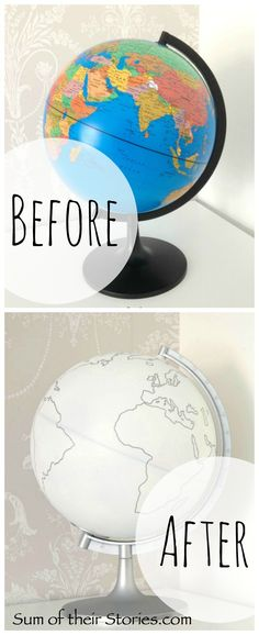 Simple Globe Makeover - easy diy with spray paint and a paint pen or marker Globe Decor, Globe Art, Map Globe, Globe Projects, Globe Crafts, Craft Projects, Craft Ideas, Globe Furniture, Kids Globe