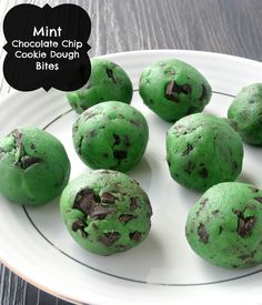 Mint Chocolate Chip Cookie Dough Bites- Yes, please!