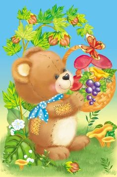 gifs ours pandas koalas - Page 17 Teddy Bear Cartoon, Cute Teddy Bears, Cute Cartoon, Creation Photo, Bear Pictures, Cute Animal Pictures, Painting For Kids, Art For Kids, Crafting
