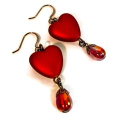 Red Heart Earrings Valentines Earrings Crimson by BluKatDesign ($12) ❤ liked on Polyvore