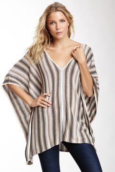 Multicolor Stripe Knit Poncho on HauteLook