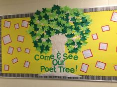 New Paper Tree Classroom Bulletin Boards Reading Corners Ideas Literacy Bulletin Boards, English Bulletin Boards, Bulletin Board Tree, Writing Prompts For Writers, Picture Writing Prompts, Paper Tree Classroom, Boys With Tattoos, School Library Displays, Elementary Art Rooms