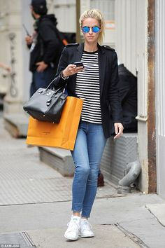 Skinny jeans: Nicky Hilton was looking exceptionally slender in NYC on Thursday