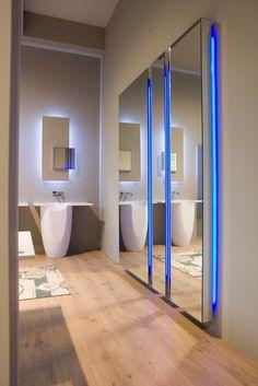 Bathroom Lights Keep Dimming corian® #washbasin with light soffioantonio lupi design
