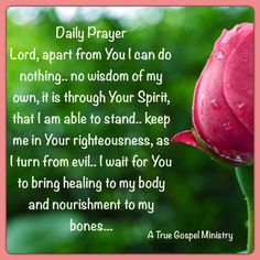 Daily Prayer Lord, apart from You I can do nothing.. no wisdom of my own, it is through Your Spirit, that I am able to stand.. keep me in Your righteousness, as I turn from evil.. I wait for You to bring healing to my body and nourishment to my bones... #dailyprayer #atruegospelministry #morningprayer #instaquote #quote #seekgod #godsword #godislove #gospel #jesus #jesussaves #teamjesus #LHBK #youthministry #preach #testify #pray #rollin4Christ