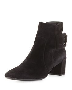 Polly Suede Side-Buckle Ankle Boot, Black by Roger Vivier at Bergdorf Goodman.