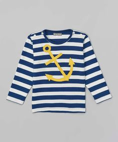 Look what I found on #zulily! Navy Stripe Anchor Tee - Infant & Toddler by Petit Confection #zulilyfinds