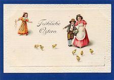 Ostern Fröhliche Ostern Kinder mit Küken Wunderschöne Prägekarte von 1914 AK