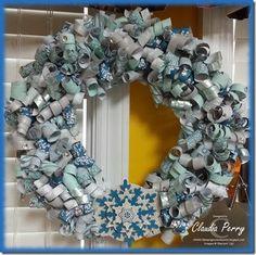 Stampin' Up! Paper wreath, short verbal instructions, Winter, DSP, Festive Flurry Framelits, Glimmer Paper,