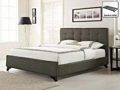 Nowoczesne łóżko tapicerowane ze stelażem 160x200 cm  szarozielone AMBASSADOR