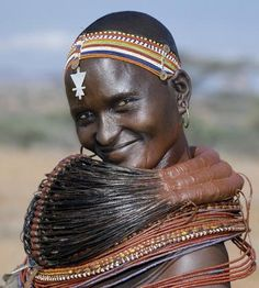 **A Samburu woman, in Samburuland, Kenya, wearing a mporro necklace, which denotes her married status.