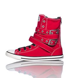 caa8af30f67c CONVERSE High top women s sneaker Lace closure with buckle straps Canvas  material CONVERSE all star logo