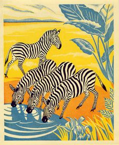 Jungle Picnic Zebras: illustration by Clifford Webb