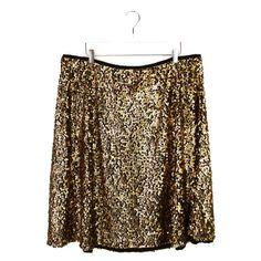 5ed4aac47fe9a Ava Viv 2X Sequin Skirt Womens Plus Size Black Gold A Line Spring Blogger  Fav