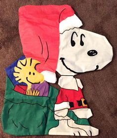 PEANUTS SNOOPY WOODSTOCK Shaped Christmas Flag Santa Hat Toy Bag Large  #unknown
