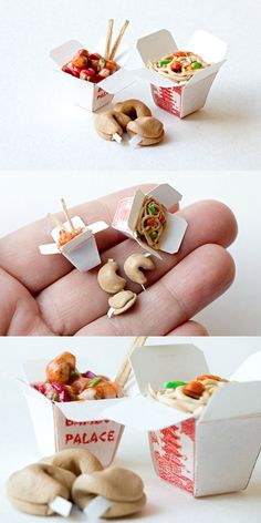 clay food More mini Chinese take out polymer clay Cute Polymer Clay, Polymer Clay Miniatures, Polymer Clay Charms, Miniature Crafts, Miniature Food, Miniature Dolls, Doll Crafts, Diy Doll, Cute Crafts