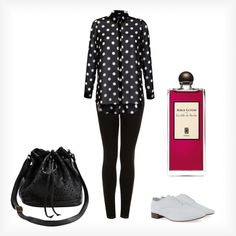 A fashion look from April 2013 featuring polka dot shirts, topshop jeans and jazz shoes. Browse and shop related looks. Outfit Of The Day, Shoe Bag, Polyvore, Stuff To Buy, Outfits, Shopping, Collection, Design, Women