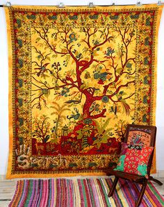 Tapestry Tree of Life Hippie Tapestry Boho Hippie Wall by Sparshh, $18.99