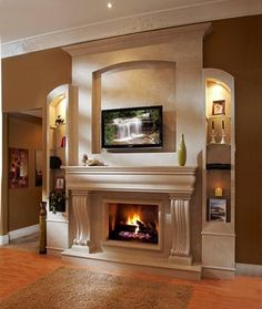 Omega Fireplace mantel of stone traditional fireplaces.  Great fireplace, mantel, .. I can imagine living in a cottage.  Cold wlnter nights, hot buttered rum.  Yummmy look.