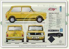 Mini 1275 GT 1969-74 classic car portrait print