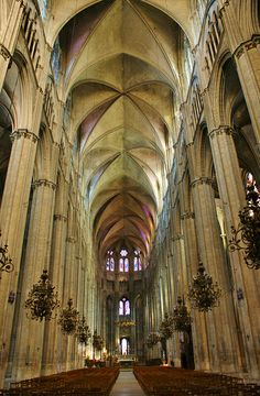 Cathedral Bourges vaulted ceiling of the nave and beautiful chandeliers