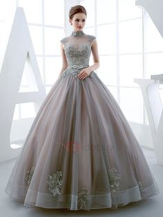 Tidebuy.com Offers High Quality Vintage High Neck Ball Gown Cap Sleeves Appliques Beading Floor-Length Quinceanera Dress, We have more styles for Vintage Ball Gown Dresses