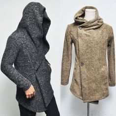 Outerwear :: Coats :: Avant-Garde Rick Button Marled Wool Hood-Jacket 73 - Mens Fashion Clothing For An Attractive Guy Look