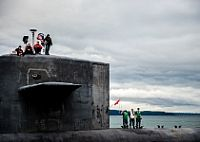 The Gold Crew of the Ohio-class ballistic missile submarine USS Alabama (SSBN 731) returns home to Naval Base Kitsap-Bangor following a routine strategic deterrent patrol. Alabama is one of eight ballistic missile submarines stationed at Naval Base Kitsap-Bangor, providing the most survivable...