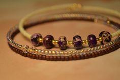 Purple Imperial Jasper Bracelet Set Czech Glass Seed Beads Memory Wire Bracelet Bangle Gold Purple Crystal Jewelry Gift Beaded Set Beadwork by CoreyNicolaDesigns on Etsy