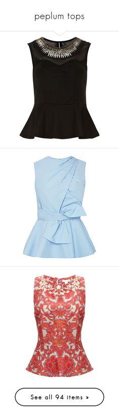 """peplum tops"" by martina-cciv ❤ liked on Polyvore featuring tops, shirts, blouses, sleeveless tops, tanks, black, metallic shirt, peplum shirt, no sleeve shirt and embellished shirt"