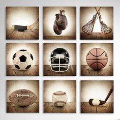 This listing is for Nine Vintage Sports Photos on Canvas in Square format and various sizes please select your size from the drop down menu. The Brown Distressed tones will add so much warmth and character to your space. These would make a perfect addition for your little boys room, nursery or a man