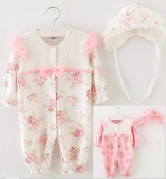 Neugeborenen Baby Mädchen Kleinkind Kappe +Spielanzug-Bodysuit Overall Kleidung