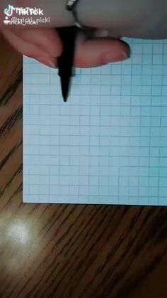 Graph Paper Drawings, Easy Doodles Drawings, Graph Paper Art, Art Drawings Sketches Simple, 3d Art Drawing, Doodle Art Designs, Illusion Art, Art Tutorials, Diy Art