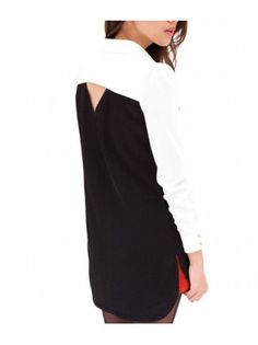 Preppy Cutout Back Long Sleeve White & Black Polyester Shirt